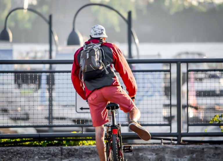 Cyclist with Backpack